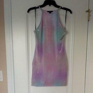 Velvet watercolor purple/blue dress Forever 21